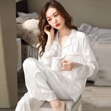 Pijama de seda de hielo para Mujer, ropa de Dormir de color blanco de primavera, con borde de encaje, para el hogar