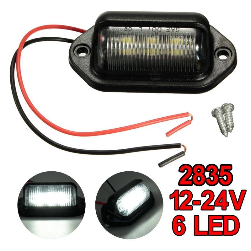 10pcs 6LED License Plate Light Lamp Bulbs Number Plate Light 12V 24V For Motorcycle Boats Aircraft Trailer RV Truck White