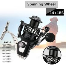 Fishing Accessories Spinning Reel 14+1BB 5.5:1 High-Speed Gear Ratio Smooth Long Casting Powerful Fishing Reel baitcasting reel 22 lb powerful drag fishing reel 6 3 1 gear ratio ultra smooth casting fishing reels 6 1 bb casting reel for f