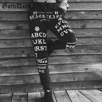 Goth Dark estetyczny list drukuj gotyckie spodnie dla kobiet Harajuku Skinny Vintage Grunge Punk jesienne zimowe czarne damskie spodnie tanie i dobre opinie Pełnej długości COTTON Poliester spandex Sznurek Mieszkanie YB92330 WOMEN Gothic Suknem Ołówek spodnie NONE