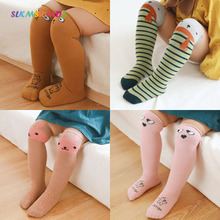 SLKMSWMDJ Spring Autumn Cartoon Children Stockings Baby Over The Knees Keep Warm Cotton Stripe 1-8 Years Old One Size