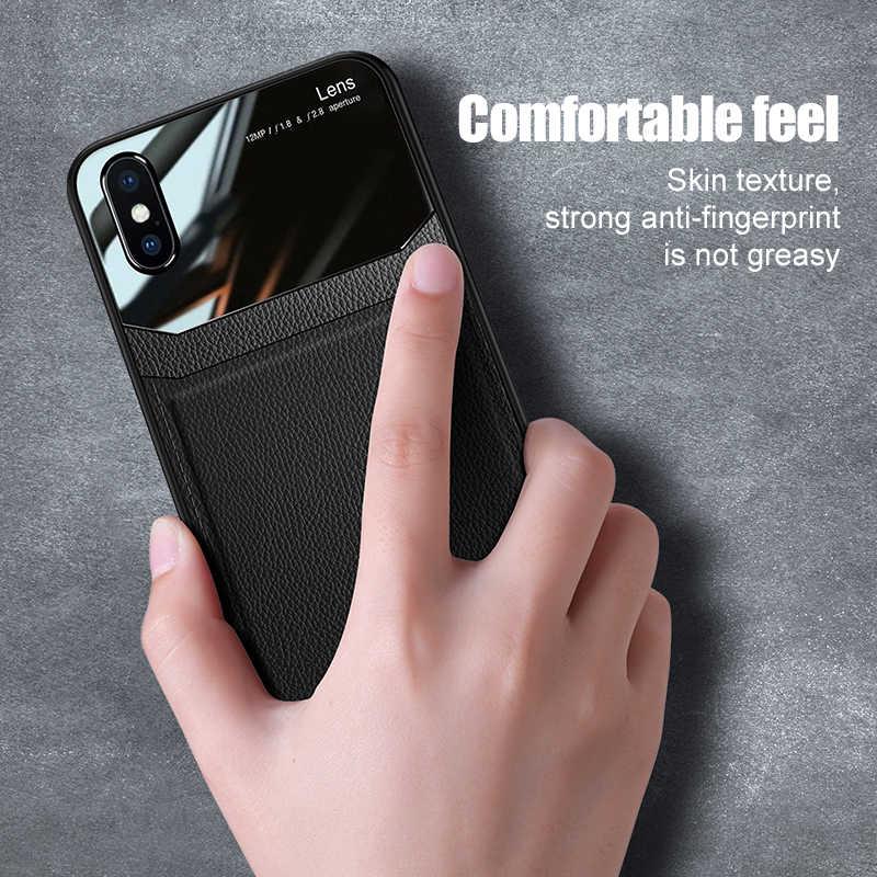 Deri doku pleksiglas yumuşak kapak kılıf apple iphone aphone bir iphone aifon iphone 6 6s 7 8 artı 10 x xr xs 11 pro max coque