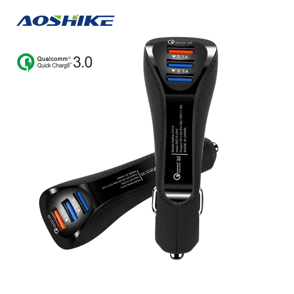 Aoshike QC3.0 3 Ports USB Car Charger 3.1A Mobile Phone Fast Car-Charging Universal Adapter for iphone samsung Huawei Car Charge image