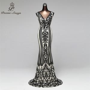 Image 3 - שירי שירים צד פורמלי ארוך שמלת ערב Vestido דה festa יוקרה אדום נצנצים Robe לונג לנשף שמלות