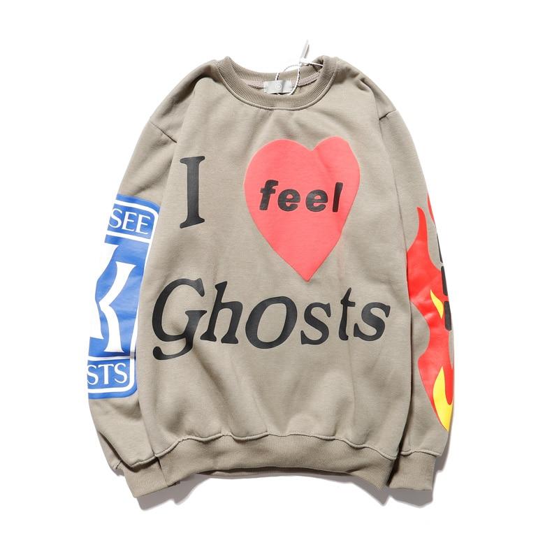 "Kanye West""I feel Ghosts"" Sweatshirt Men and Women Fleece Flame Print Hip Hop Hoodies Xxxtentacion Loose Casual Hoody|Hoodies & Sweatshirts|   - AliExpress"