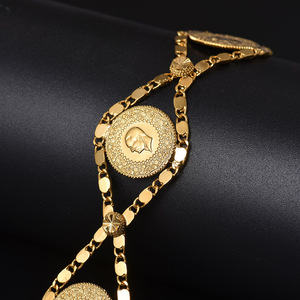 Image 2 - Length 24CM Turkey Coin Bracelet for Women Gold Color Turks Simgesi Osmanli Turasi Muslim Islam Bangle Arab Jewelry African