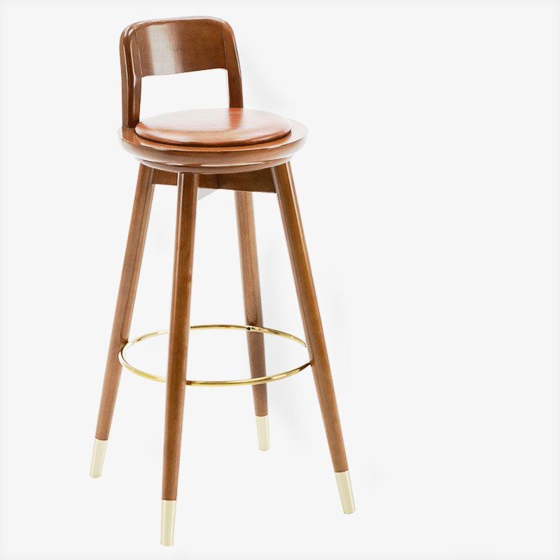 Nordic Light Luxury Solid Wood Bar Chair Simple Bar Chair Home Bar Chair Back Rotating Leather High Stool