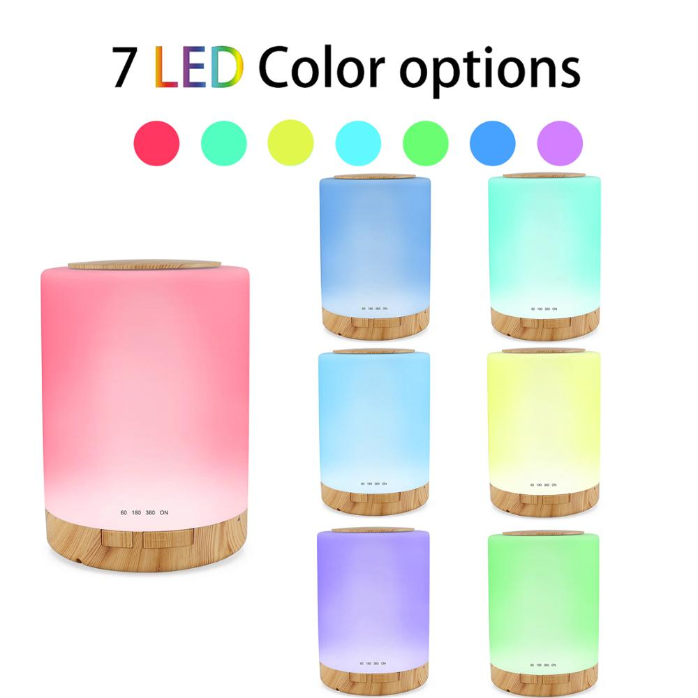 OTOKU 300ml Electric Air Humidifier Essential Oil Aroma Diffuser with 7 Colors LED Night Light and Wood Base for Home or Office in Humidifiers from Home Appliances