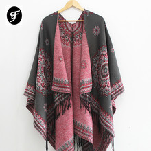 купить Women Fashion Retro Style Tassel Poncho Shawl Cape Cardigans Winter Ladies Ethnic Shawl Scarves Pashmina Ruana Female по цене 968.85 рублей