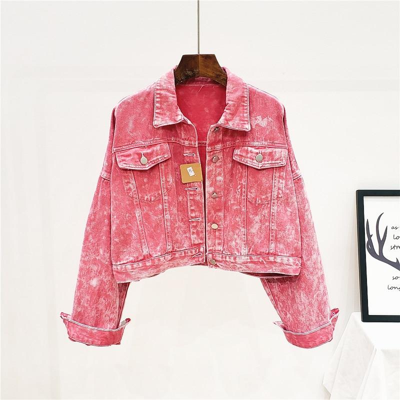 Fashion Short Rose red Wash Denim   Jacket   Women Loose Outerwear 2020 Spring Long sleeve Jeans   Jacket     Basic   Coat Female Streetwear