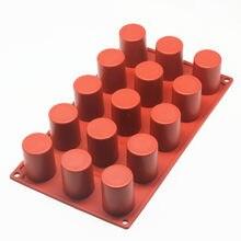 Ferramentas de cozimento 15-cavidade/8-cavidade forma do cilindro molde de bolo de silicone para mousse de chocolate geléia pudim sobremesa ferramentas sobremesa molde