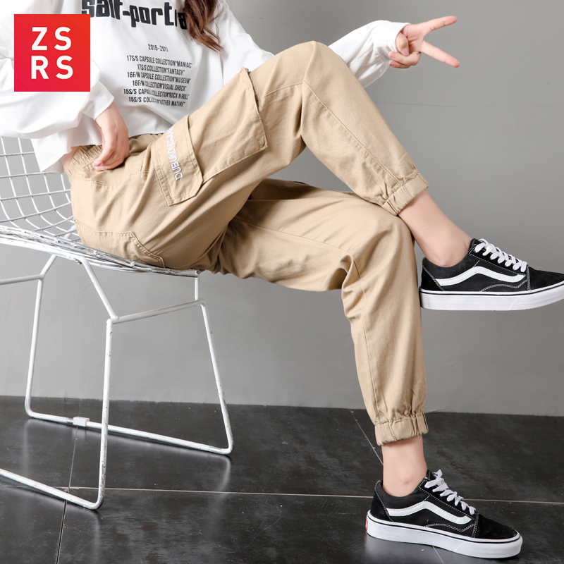 ZSRS Korean version of loose <font><b>BF</b></font> high waist straight pants for students in autumn 2019 new casual pants <font><b>children</b></font> image