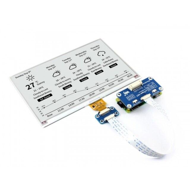 Waveshare écran de papier électronique 800x480 pouces, compatible avec Raspberry Pi STM32, deux couleurs, Ultra faible consommation dénergie