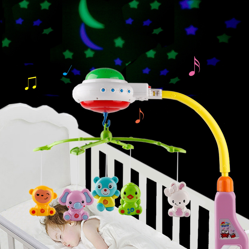 Music And Sky Stars Projection Baby Rattle Crib Mobility Baby Toys For 0-12 Months Crib Mobile Bed Bell Educational Toys