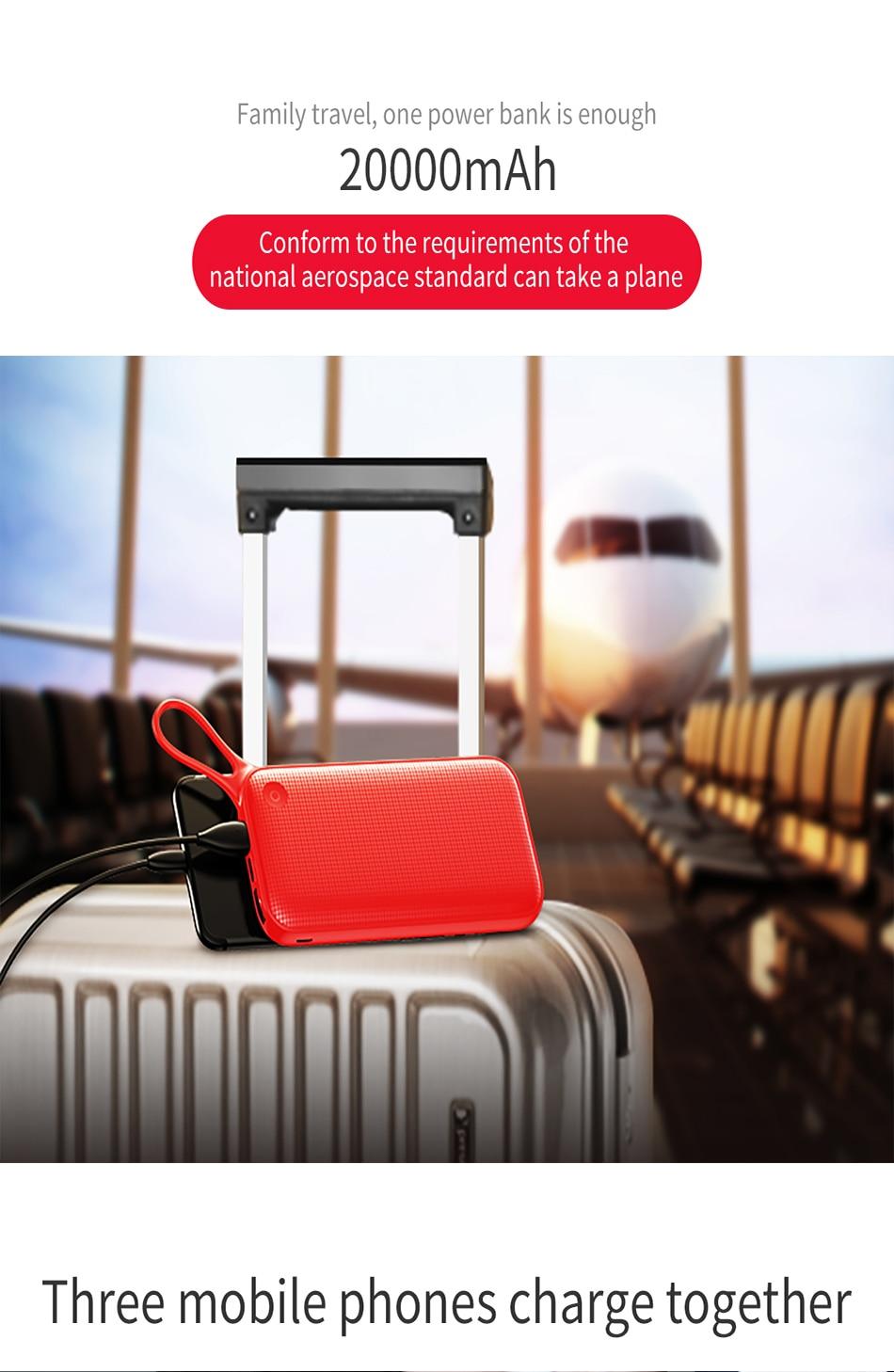Baseus 20000mAh Quick Charge 3.0 Power Bank For Xiaomi Mi 000 mAh USB C PD Fast Portable External Battery Charger Powerbank 7