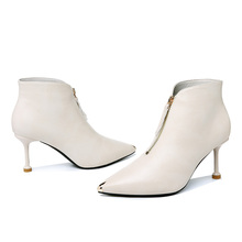 Fashion Winter Women Boots Ankle Boots for Women Pointed Toe Solid Color Short Plush Women Shoes Thin Heels Women Pumps 3-26 trendy metal rivets and solid color design ankle boots for women