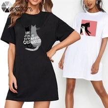 Женская футболка платье Свободные Летние милый костюм с рисунком