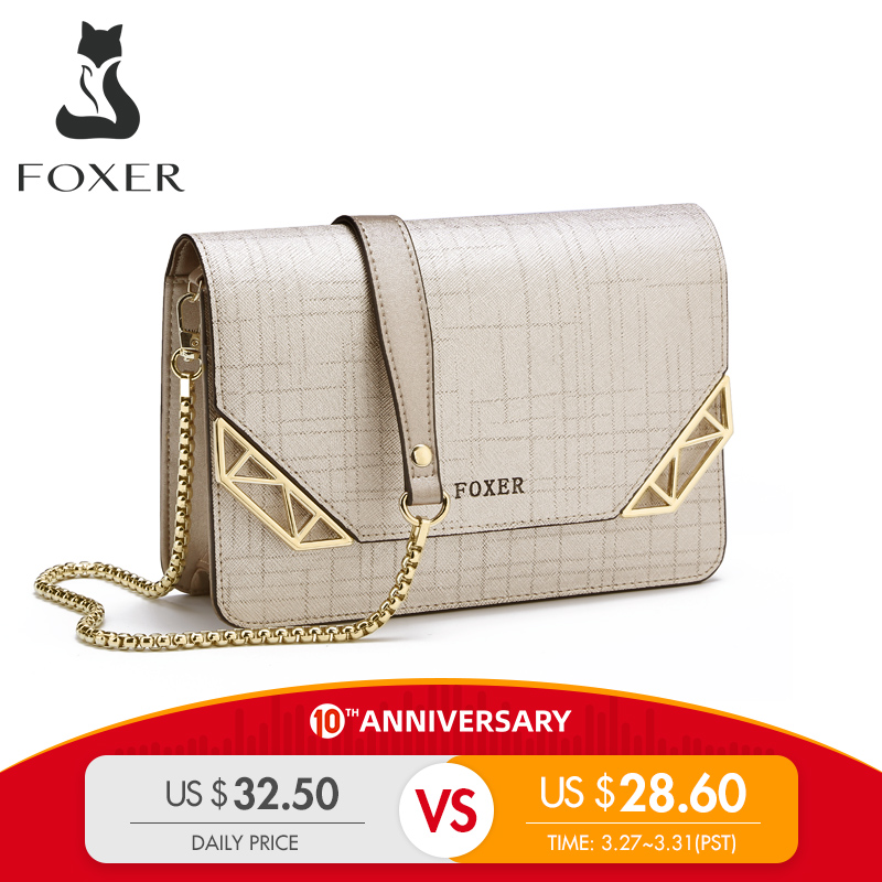 FOXER Brand Women Cowhide Leather Shoulder Bag Women's Chain Strap Crossbody Bag Fashion Ladies Bag Female Messenger Bag