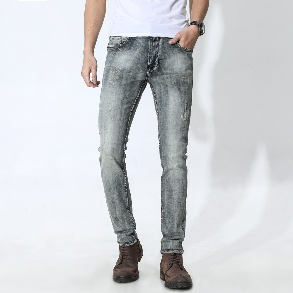 Retro Distressed Stretch Jeans Men Slim Tattered Pants In The Waist Washed Pants