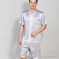 100% Silk Men Pajama Sets Noble Classic Notch Collar Short Sleeves Top and Short Pant with Elastic Waist Pajamas Pyjama sp0142