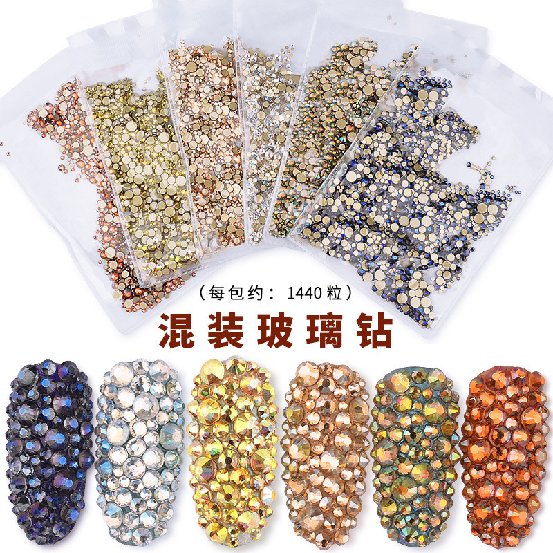 1440pcs Glass 3D Rhinestones For Nail Art Design Gems Nail Art Decorations Crystal Strass AB Stones Nails Art Accessories