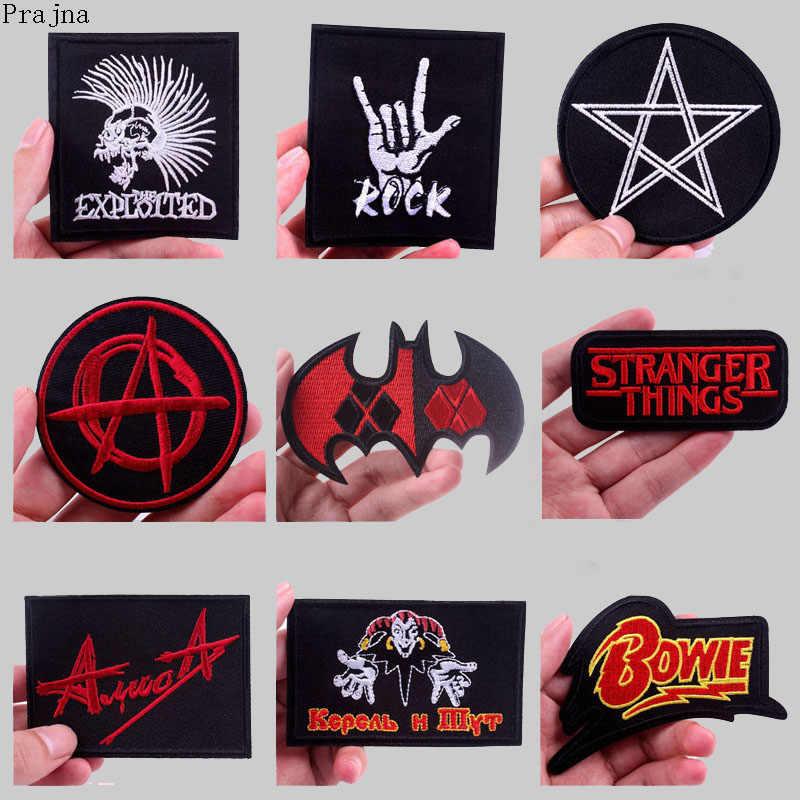Prajna coisas estranhas remendo banda rock hippie remendos bordados de ferro em remendos para roupas listras tecido apliques emblema diy