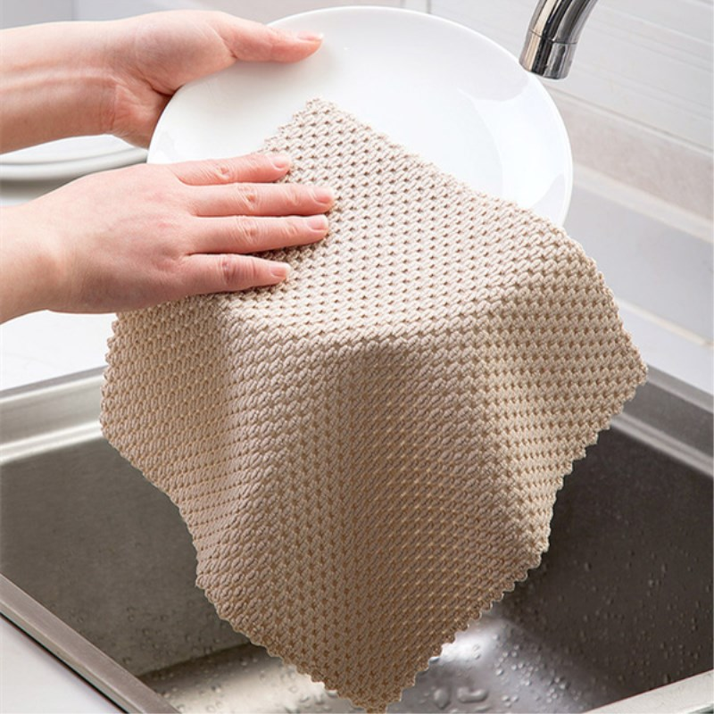 2 Psc/lot Kitchen Anti-Grease Wipping Rags Super Absorbent Microfiber Clean Cloth Home Wash Dishes Kitchen Cleaning Towel