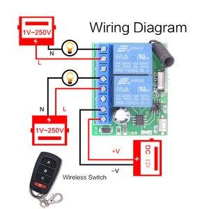 Image 2 - Interruptor de controle remoto dc 12v 10a 2ch, receptor sem fio, módulo de relé para rf 433mhz, iluminação remota de garagem, elétrica interruptor de porta