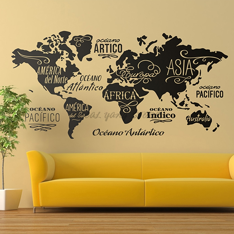 Large World Map Wall Decal Outline World Map Sticker Home Bedroom Living Room Decor Removable Adhesive Vinyl Wall Mural B2-022