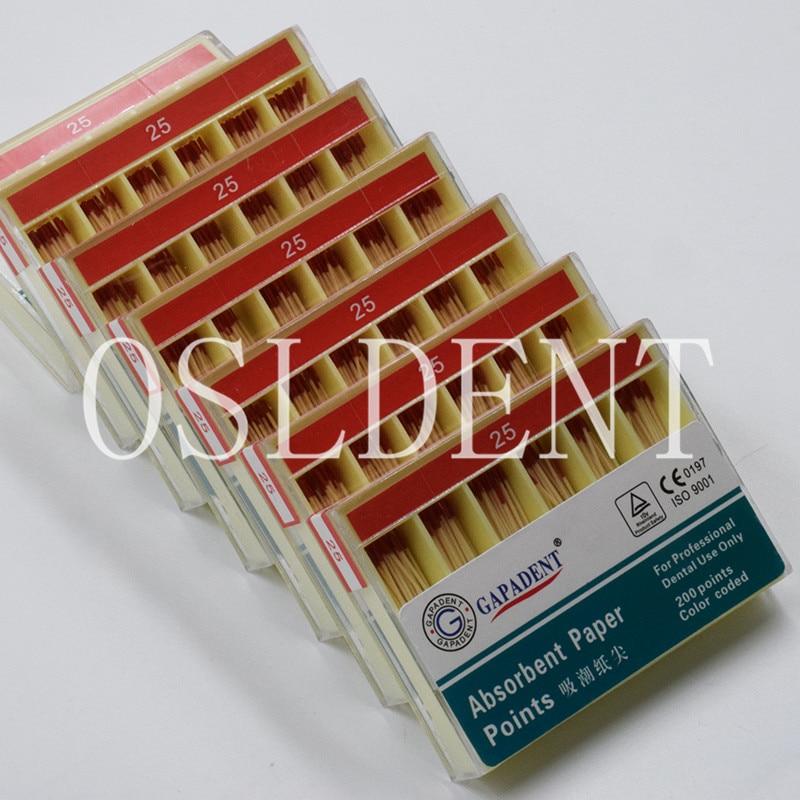 #25 Red 200 Pcs/Box Dental Gutta Percha Sterile Absorbent Paper Points Endodontics Cotton Fiber Tips