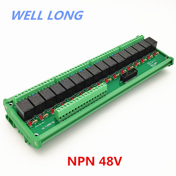 DIN Rail Mount 16 Channel NPN Type 48V 15A Power Relay Interface Module,HF JQC-3FF-48V-1ZS Relay.