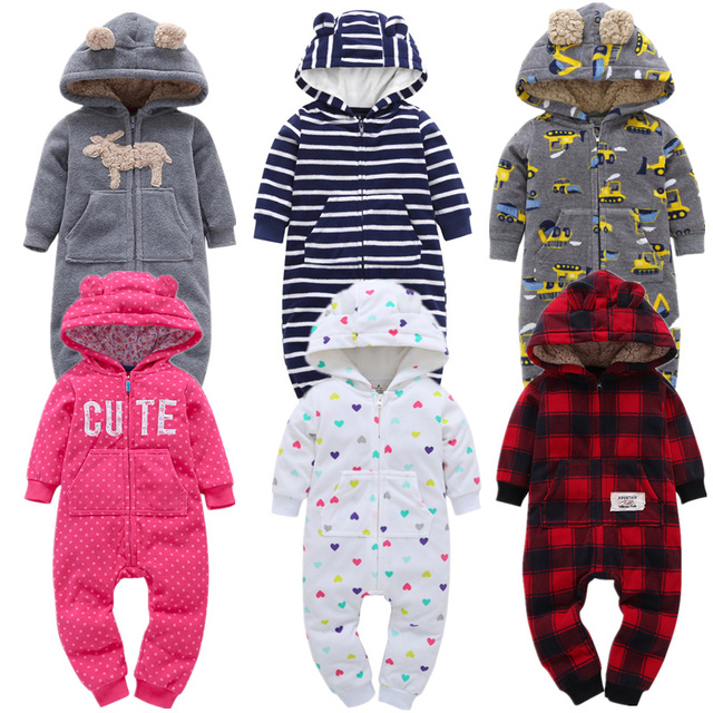 2019 Autumn Winter Warm Baby Rompers Boys Hooded Clothes Coral Fleece New Born Girls Rompers Costume Overall Clothing Jumpsuits