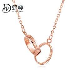 18K Emas Lengan Rose Emas Indah Emas Double Tombol Surat Cinta Kalung Gantung Klavikula Rantai Wanita AU750