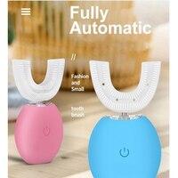 Quente!-dentes branqueamento group-u-shaped escova de dentes elétrica preguiçoso automática elétrica 360 graus à prova dwaterproof água boca com sili