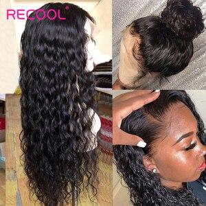 Image 3 - Recool Peluca de cabello humano brasileño con cierre de 6x6, ondas al agua, densidad del 250, encaje Frontal 13x6, parte profunda, encaje rizado