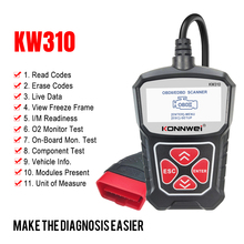 Konnwei kw310 obd2 scanner para obd 2 carro ferramenta de diagnóstico scanner automotivo ferramentas do carro suporte russo pk elm327