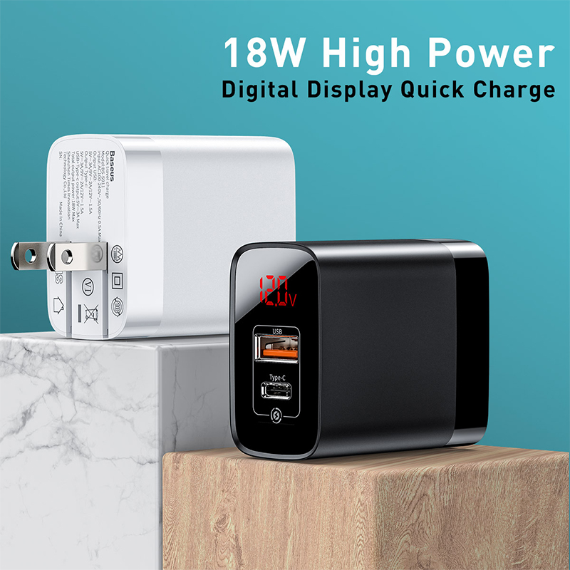 Image 4 - Baseus Digital Display Quick Charge 3.0 USB Charger 18W PD 3.0 Fast Charger for iPhone 11 Pro Charger Mobile Phone USB C ChargerMobile Phone Chargers   -