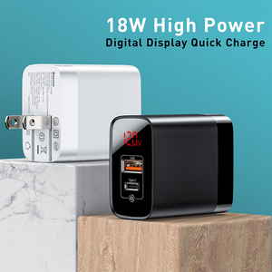 Image 4 - Baseus Digital Display Quick Charge 3.0 USB Charger 18W PD 3.0 Fast Charger for iPhone 12 pro max 11 Charger Phone USB C Charger