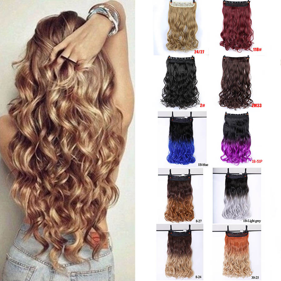 MUMUPI  Fashion Sexy Long Curly Wavy Clip In Hair Extensions Curl Hairpiece Wigs Heat Resistant Ombre Color for Women Headwear