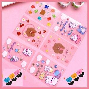 Korean cartoon cherry bear rabbit sticker DIY Scrapbooking Craft Diary photo Album Phone Computer Seal Stickers Decorative