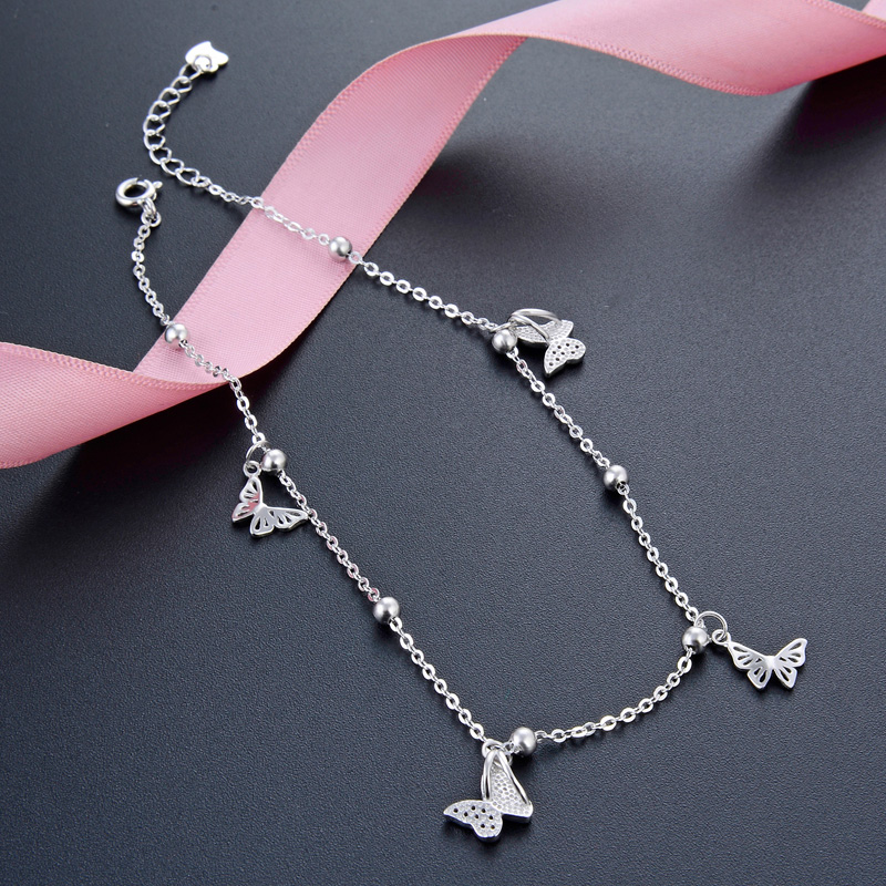 Butterfly Foot Chain foot leg bracelet silver 925 Cute Silver Anklet Jewelry S925 Anklet Bracelet Adjustable Length Birthday Gif 5