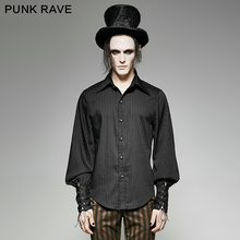 Striped Shirt Blouse Party-Club Loose Punk Rave Full-Sleeve Men's Fashion Steampunk The-Rope-Cuff