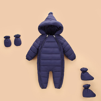 OLEKID 2020 Autumn Winter Newborn Rompers Hooded Warm Cotton Baby Boys Jumpsuit Toddler Girls Snowsuit Infant Baby Girl Overalls iyeal newborn baby snowsuit children infant winter coat warm liner hooded zipper jumpsuit boys girls duck down outwear overalls