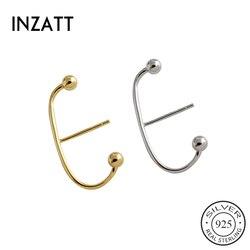 INZATT INS prawdziwe 925 Sterling srebrny geometryczny kolczyki sztyfty z koralami dla kobiet mody Party Fine Jewelry 18k gold Accessories