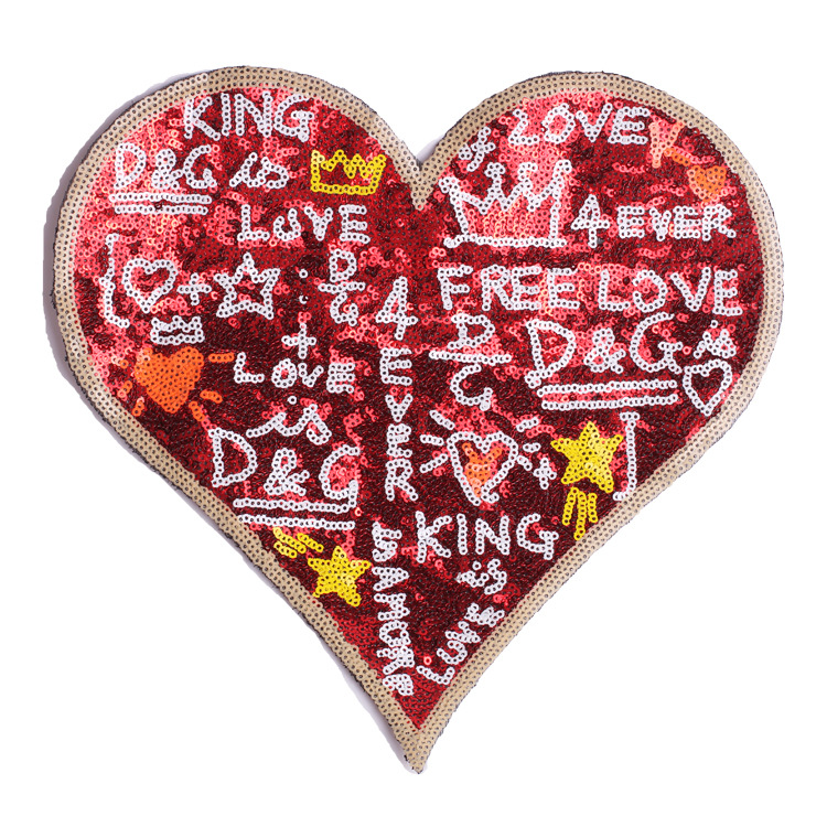 New Super Large Sequin Love Letter Embroidered Cloth With Patch And Auxiliary Materials For Clothing