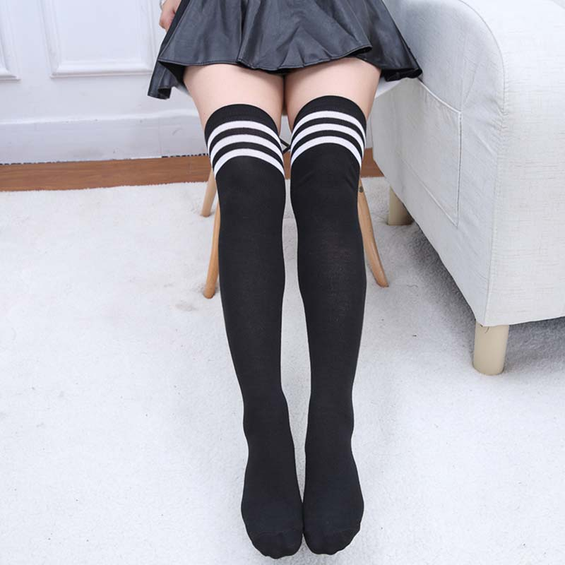 New Autumn Stockings For Women Simple Sweet Casual Striped And Solid Color Tight Breathable Fabric Joker Stockings Female
