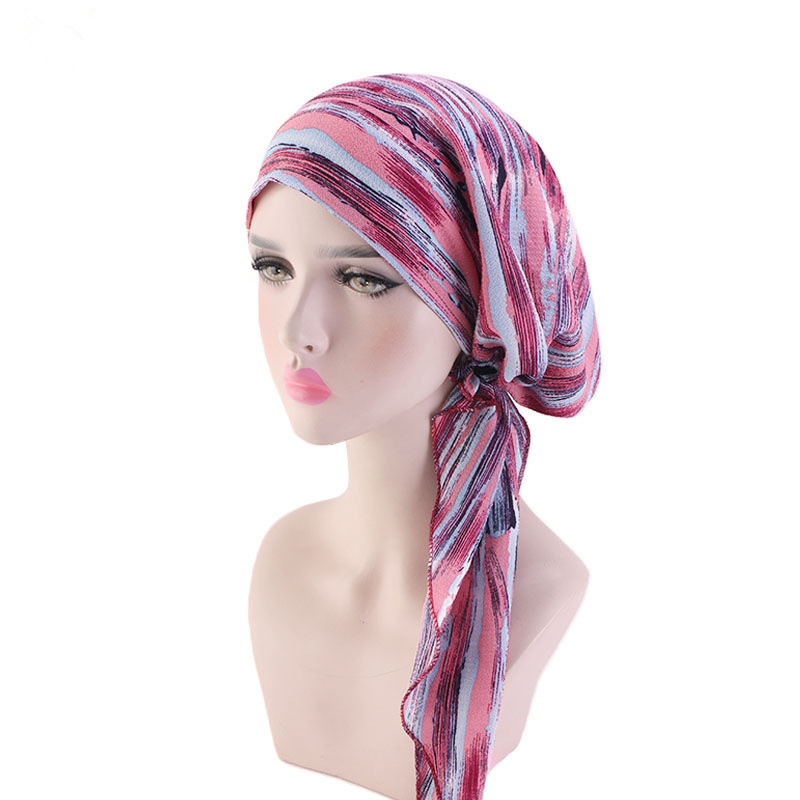 Helisopus New Pre-Tied Turban Flower Printed Chemo Beanies Bonnet Caps Hair Loss Headscarf Hair Accessories For Women