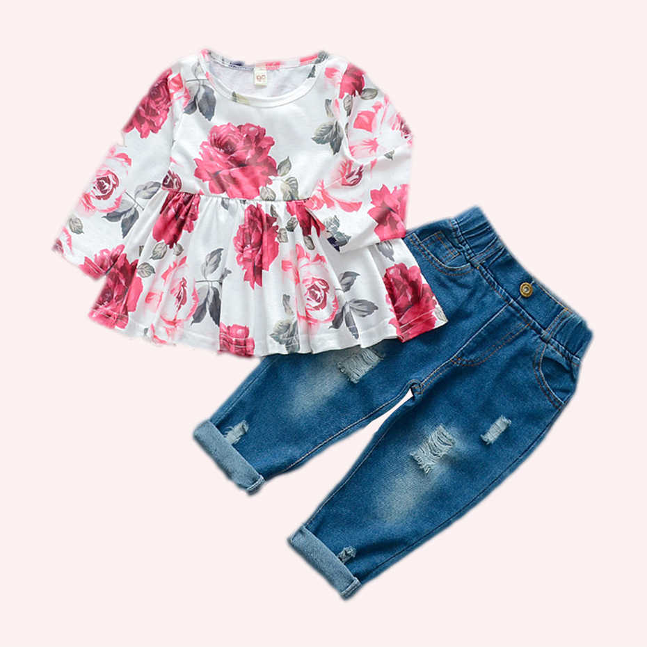 Baby Girl Clothes Floral Dress Jeans Newborn Clothes Long Sleeve Baby Clothes Girl Autumn Fashion Clothes For Baby Girls Clothing Sets Aliexpress