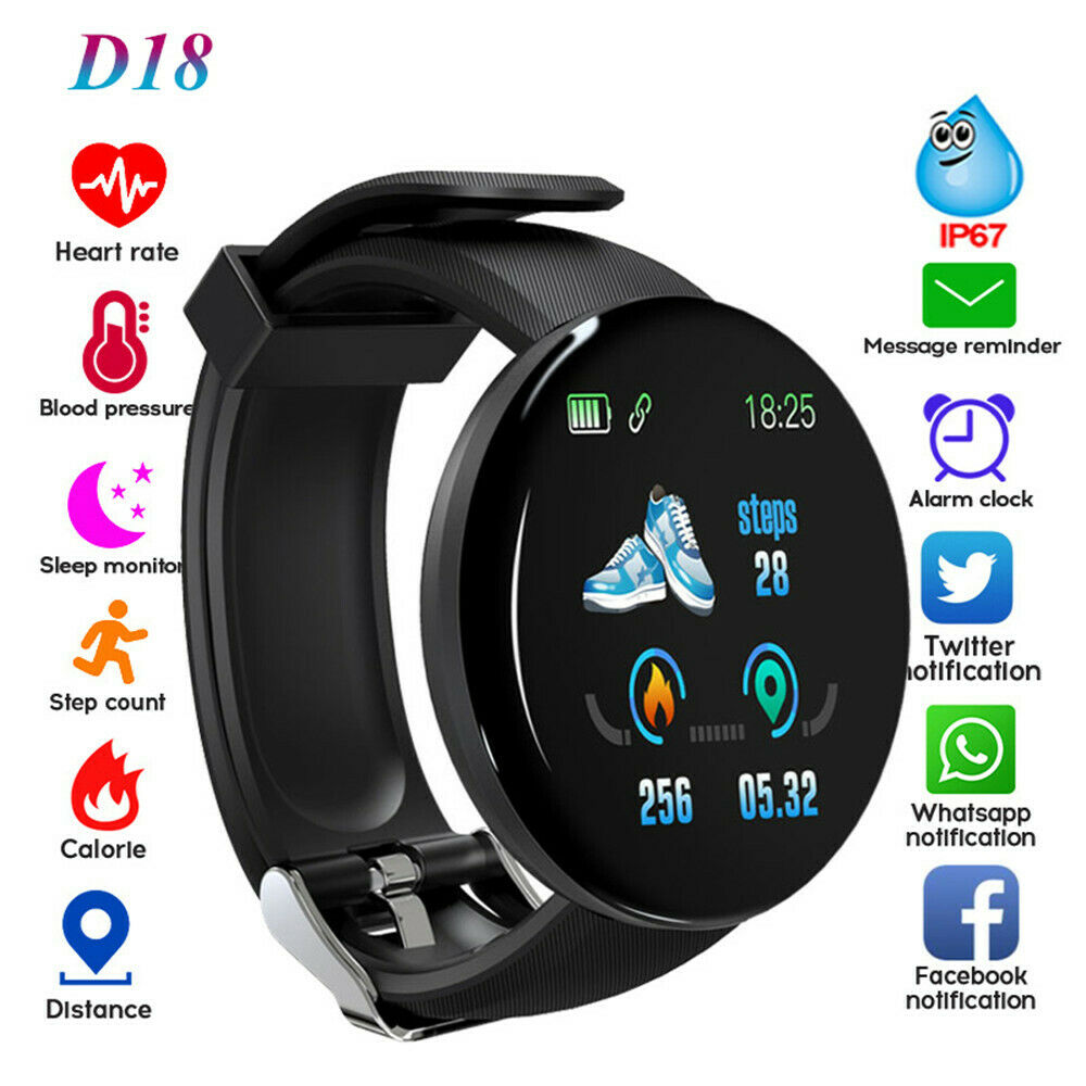 Smart Watch D18 Blood Pressure Fitness Tracker Round Smartwatch Waterproof Sports Smart Watch Men Women For Android Ios Z2