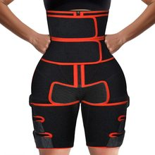 3 1 cintura e coxa trimmer cinto de compressão dupla apoio para as pernas suor sauna efeito neoprene cintura trainer bumbum levantador treino